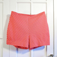 Highwaisted Upcycled Shorts - 1960s Red Orange with White Polka Dot Pinup Shorts
