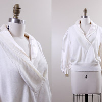 1940s sweater / vintage white blouse / vintage 40s satin layered top // size L
