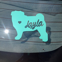 Dog SIlhouette Decal with Name Cutout- Pug Decal- Silhouette Window Decal