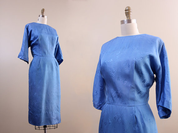 1950s dress // cornflower blue brocade wiggle dress // XL