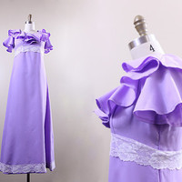 60s dress // vintage bridesmaid dress // lilac purple ruffled maxi // size M L