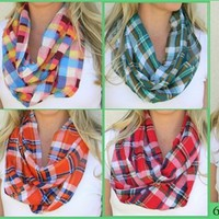 Restocked! Plaid Infinity Scarves - 6 Colors!