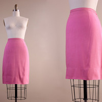 50s skirt / vintage 1950s bubblegum pink pencil skirt // XS