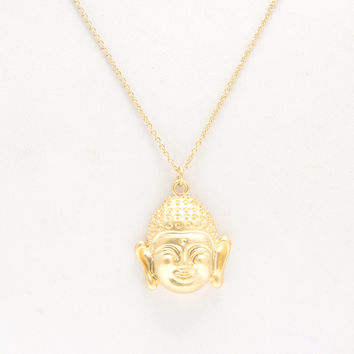 About Face Matte Coated Buddha Necklace