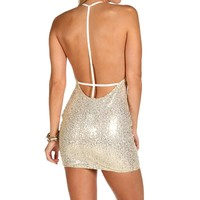 Sale-ivory Look Back At It Sequin Dress