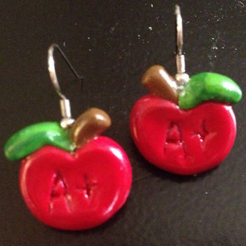 Apple Earrings made Sculpey clay