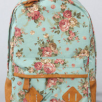 The Flower Printed Backpack in Mint