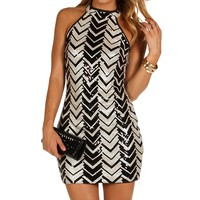 Black Chevron Sequin Dress