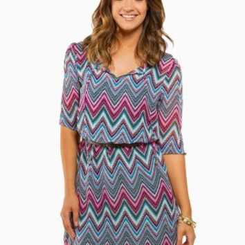 CHEVRON BELTED PEASANT DRESS