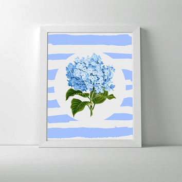 Blue floral print, hydrangea. Blue and white hand painted stripes with vintage reproduction hydrangea illustration.