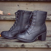 Fox Hollow Black Lace Up Booties