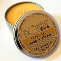 The Bondle: 6 oz Sunkissed Soy Candle flavored with Sage & Citrus in a Seamless Travel Tin