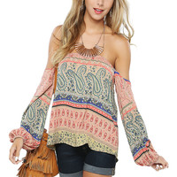 Papaya Clothing Online :: paisely off shoulder top