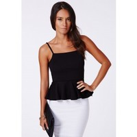 Missguided - Rosemary Ribbed Peplum Cami Top Black