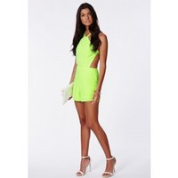 Missguided - Pilarica Neon Strappy Playsuit