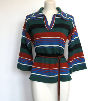Vintage 1970s Boho / Hippie Striped Bell Sleeve / Collared Sweater