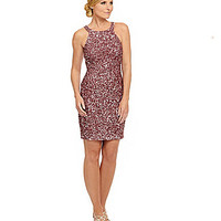 Adrianna Papell Beaded Halter Sheath Dress | Dillards.com