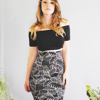 Palm Garden - Knee Length Super High Waisted Pencil Skirt - By Simka Sol - Hand Printed Tight Skirt