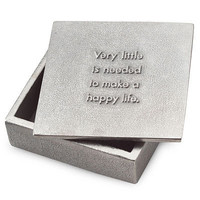 HAPPY LIFE BOX | Engraved Pewter Quote Box, quote from Marcus Aurelius Antoninus, Inspirational, Well Wishes, Happy Lives, Soul Searching, Thoughtful, Touching | UncommonGoods