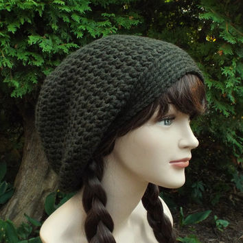 Dark Espresso Brown Slouch Beanie - Womens Slouchy Crochet Hat - Oversized Slouchy Beanie - Chunky Hat - Baggy Beanie - Winter Slouchy Hat