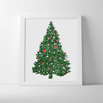 Christmas tree art in green glitters with twinkle lights. Christmas home decor wall art in green and multi-coloured.