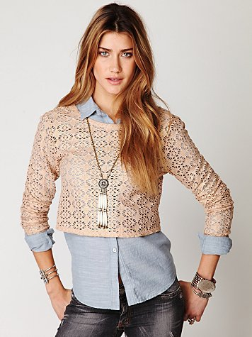 Free People Lurex Crochet Long Sleeve Top
