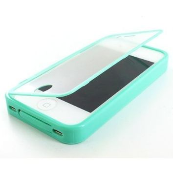 Thousand Eight(TM) For Apple iPhone 4 4S TPU Wrap Up Skin Case Cover w/ Built in Screen Protector + [FREE Touch Screen Stylus](Fashion wrap up Teal)