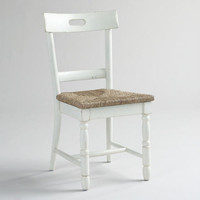White Camille Dining Chairs with Rush Seats, Set of 2