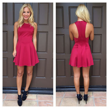 Pleat Nothings T-Back Dress - BURGUNDY
