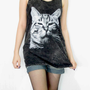 CAT Lovely Cute Animal Black Shirt Bleached Shirt Animal Tank Top Women Shirt Tunic Top Vest Women Sleeveless Singlet Cat T-Shirt Size S M