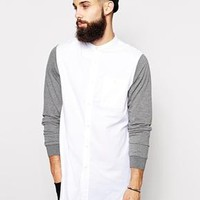 ASOS | ASOS Longline Shirt With Contrast Jersey Sleeves And Grandad Collar at ASOS