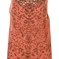 Coral Animal Pattern Beaded Mesh Top - New In This Week - New In - Topshop