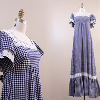 vintage blue & white gingham maxi dress // cotton ruffle summer dress size M