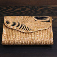 1960s straw purse // vintage convertible clutch by Marshall Fields