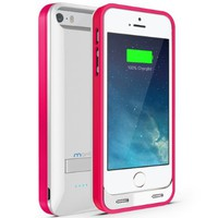 Maxboost Atomic S External Protective iPhone 5S Battery Case / iPhone 5 Battery Case with Built-in Kickstand - White / Pink (Apple MFI Certified, Fits All Versions of iPhone 5 / 5S - Lightning Connector Output, MicroUSB Input ) [100% Compatible with iPhone