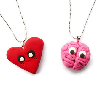 Brain and Heart best friends necklace, BFF Necklace, Friendship Necklace set
