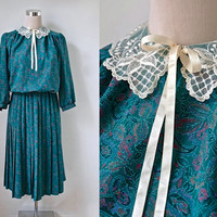 Vintage Lace Collar Dress - Paisley Vintage Dress - Peter Pan Collar - Preppy Green Midi Dress With Pleated Skirt