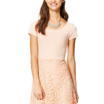Short-Sleeve Lace Skirt Dress