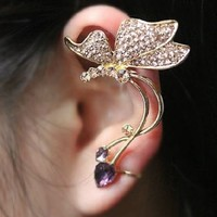 Butterfly And Rhinestone Ear Cuff (Single Left, No Piercing)