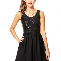 Floral Sequin and Tulle Dress - Black