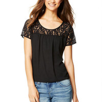 Lace Illusion Oversized Top