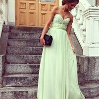 A-line strapless v-neck sage sash tulle Prom Dresses 2012 PDM353