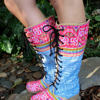 Anja Boot in Rainbow and Sky Blue Hmong Embroidery & Batik Lace Up Knee High Wedge Heel