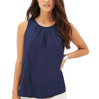 Chain-Trim Pleated Top