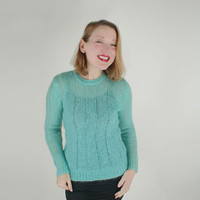 60s Sheer Aqua Mohair & Wool Sweater M