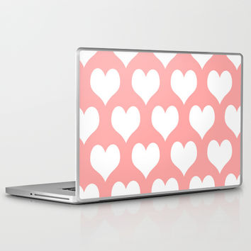 Coral Pink Hearts of Love Laptop & iPad Skin by BeautifulHomes | Society6
