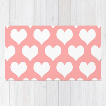 Coral Pink Hearts of Love Area & Throw Rug by BeautifulHomes | Society6