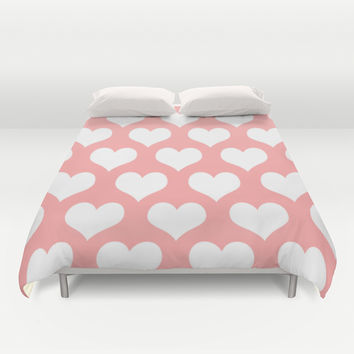 Coral Pink Hearts of Love Duvet Cover by BeautifulHomes | Society6