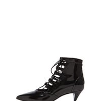 Lace Up Cat Patent Leather Boots in Black