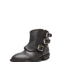 Biker Leather Boots in Black